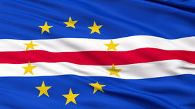Close Up Waving National Flag of Cape Verde stock video footage