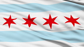 Close Up Waving National Flag of Chicago City. Chicago City Flag Close Up Realistic Animation Seamless Loop - 10 Seconds Long stock footage