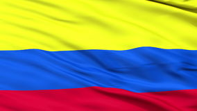 Close Up Waving National Flag of Colombia stock video