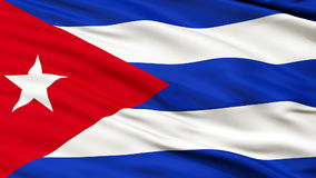 Close Up Waving National Flag of Cuba stock video footage