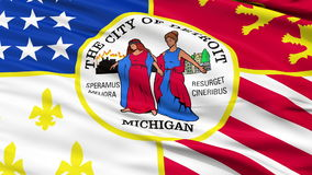 Close Up Waving National Flag of Detroit City. Detroit City Flag Close Up Realistic Animation Seamless Loop - 10 Seconds Long stock footage