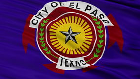 Close Up Waving National Flag of El Paso City. El Paso City Flag Close Up Realistic Animation Seamless Loop - 10 Seconds Long stock footage