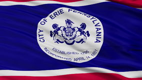 Close Up Waving National Flag of Erie City. Erie City Flag Close Up Realistic Animation Seamless Loop - 10 Seconds Long stock video footage