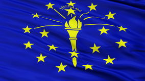 Close Up Waving National Flag of Indiana. Indiana Flag Close Up Realistic Animation Seamless Loop - 10 Seconds Long stock video