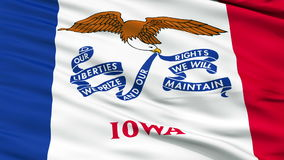 Close Up Waving National Flag of Iowa stock footage