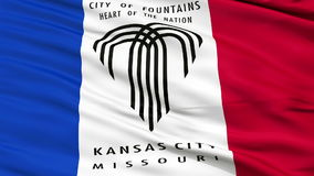 Close Up Waving National Flag of Kansas City. Kansas City Flag Close Up Realistic Animation Seamless Loop - 10 Seconds Long stock video