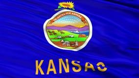 Close Up Waving National Flag of Kansas stock video footage