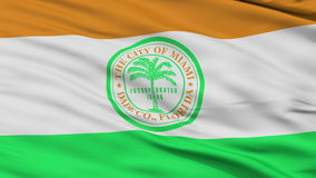 Close Up Waving National Flag of Miami City. Miami City Flag Close Up Realistic Animation Seamless Loop - 10 Seconds Long stock video footage