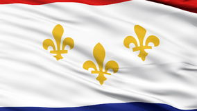 Close Up Waving National Flag of New Orleans City. New Orleans City Flag Close Up Realistic Animation Seamless Loop - 10 Seconds Long stock video