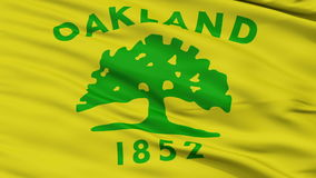Close Up Waving National Flag of Oakland City. Oakland City Flag Close Up Realistic Animation Seamless Loop - 10 Seconds Long stock video footage