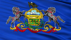 Close Up Waving National Flag of Pennsylvania. Pennsylvania Flag Close Up Realistic Animation Seamless Loop - 10 Seconds Long stock video footage