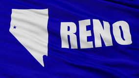 Close Up Waving National Flag of Reno City. Reno City Flag Close Up Realistic Animation Seamless Loop - 10 Seconds Long stock video