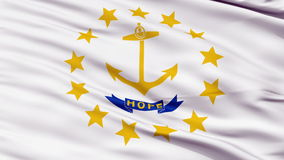 Close Up Waving National Flag of Rhode Island. Rhode Island Flag Close Up Realistic Animation Seamless Loop - 10 Seconds Long stock video footage