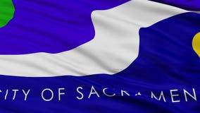 Close Up Waving National Flag of Sacramento City. Sacramento City Flag Close Up Realistic Animation Seamless Loop - 10 Seconds Long stock footage