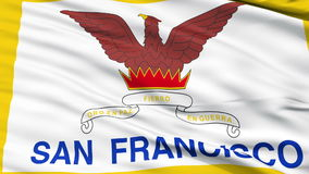 Close Up Waving National Flag of San Francisco City. San Francisco City Flag Close Up Realistic Animation Seamless Loop - 10 Seconds Long stock video