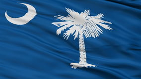 Close Up Waving National Flag of South Carolina. South Carolina Flag Close Up Realistic Animation Seamless Loop - 10 Seconds Long stock video footage