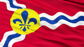 Close Up Waving National Flag of St. Louis City. St. Louis City Flag Close Up Realistic Animation Seamless Loop - 10 Seconds Long stock video footage