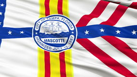 Close Up Waving National Flag of Tampa City stock video footage
