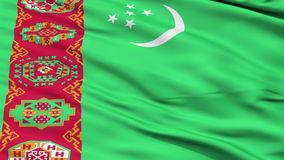 Close Up Waving National Flag of Turkmenistan stock video footage