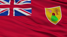 Close Up Waving National Flag of Turks and Caicos Islands. Turks and Caicos Islands Flag Close Up Realistic Animation Seamless Loop - 10 Seconds Long stock footage