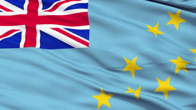 Close Up Waving National Flag of Tuvalu. Tuvalu Flag Close Up Realistic Animation Seamless Loop - 10 Seconds Long stock video
