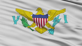 Close Up Waving National Flag of the United States Virgin Islands. United States Virgin Islands Flag Close Up Realistic Animation Seamless Loop - 10 Seconds Long stock video footage