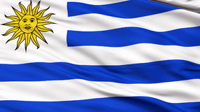Close Up Waving National Flag of Uruguay. Uruguay Flag Close Up Realistic Animation Seamless Loop - 10 Seconds Long stock footage