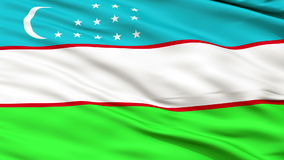 Close Up Waving National Flag of Uzbekistan. Uzbekistan Flag Close Up Realistic Animation Seamless Loop - 10 Seconds Long stock video footage