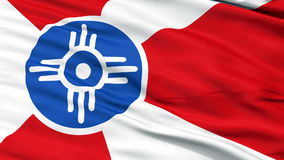 Close Up Waving National Flag of Wichita City stock video footage