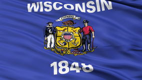 Close Up Waving National Flag of Wisconsin stock video