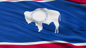 Close Up Waving National Flag of Wyoming. Wyoming Flag Close Up Realistic Animation Seamless Loop - 10 Seconds Long stock video