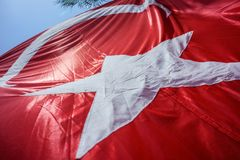 Close up Waving Turkey Flag of Silk. Close up Waving Fabric Flag of Turkey, Turkish National Flag Fabric Background Texture, Turkey Flag Blowing in the Wind stock image