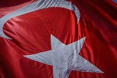 Close up Waving Turkey Flag of Silk. Close up Waving Fabric Flag of Turkey, Turkish National Flag Fabric Background Texture, Turkey Flag Blowing in the Wind royalty free stock photography