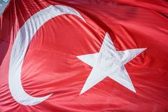 Close up Waving Turkey Flag of Silk. Close up Waving Fabric Flag of Turkey, Turkish National Flag Fabric Background Texture, Turkey Flag Blowing in the Wind stock images
