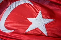 Close up Waving Turkey Flag of Silk. Close up Waving Fabric Flag of Turkey, Turkish National Flag Fabric Background Texture, Turkey Flag Blowing in the Wind royalty free stock images