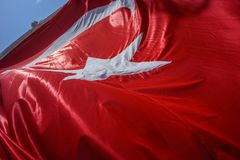 Close up Waving Turkey Flag of Silk. Close up Waving Fabric Flag of Turkey, Turkish National Flag Fabric Background Texture, Turkey Flag Blowing in the Wind royalty free stock photos