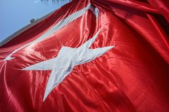 Close up Waving Turkey Flag of Silk. Close up Waving Fabric Flag of Turkey, Turkish National Flag Fabric Background Texture, Turkey Flag Blowing in the Wind royalty free stock photo