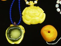 Beeswax craft jewelry. A close-up of the wax crafts, sold at the mall counter Royalty Free Stock Images
