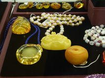 Beeswax craft jewelry. A close-up of the wax crafts, sold at the mall counter Stock Photos