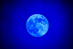 Close-up of the waxing gibbous blue moon Royalty Free Stock Photo