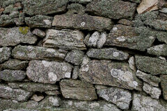 Close up of weathered dry stone wall. Close up of weathered, moss covered dry stone wall Royalty Free Stock Photography