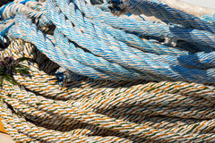 Close up of Weathered Nautical Ropes royalty free stock image