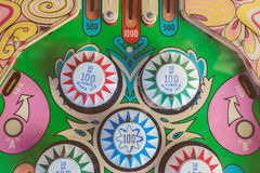 Close up of a weathered vintage pinball machine on a flee market Royalty Free Stock Photo