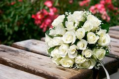 Close up of wedding bouquet. On wooden bench Stock Image