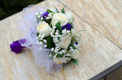 Close up of wedding bouquet. Closeup of a bouquet of white wedding roses Royalty Free Stock Image