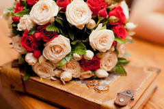 Close up of wedding bouquet. Close up of wedding ivory and red bouquet Royalty Free Stock Photography