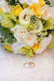 Close up of wedding bouquet. Close up of wedding  bouquet with rings Stock Photos