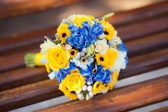 Close up of wedding bouquet. Close up of wedding yellow blue ukranian bouquet Stock Photo