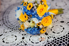 Close up of wedding bouquet. Close up of wedding yellow blue ukranian bouquet Stock Image