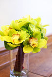 Close up of wedding bouquet with yellow orchids. Royalty Free Stock Photo